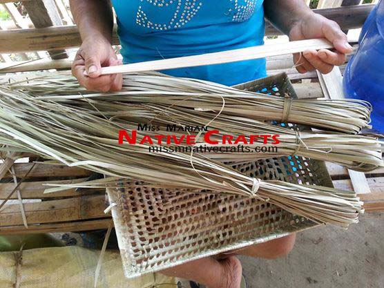 dried and fine strips of lauhala / pandan leaves ready for weaving