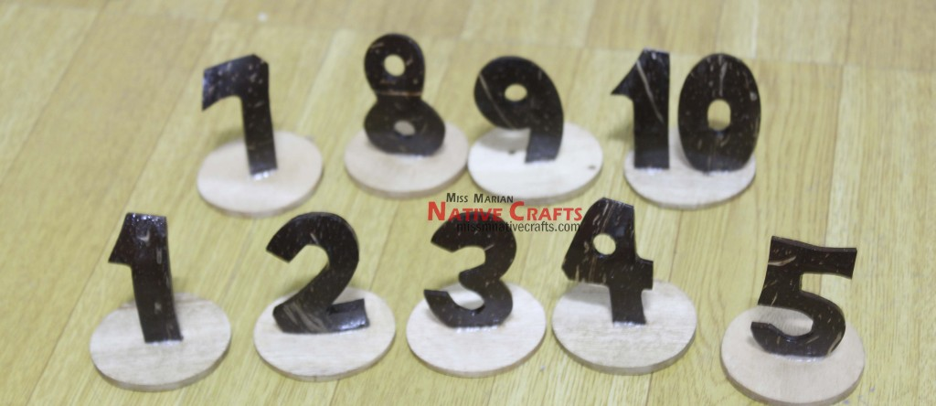 Coconut Shell Number sizes