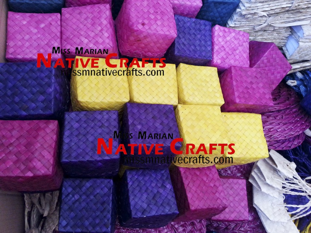 Assorted Colors Buri Palm Leaf Boxes