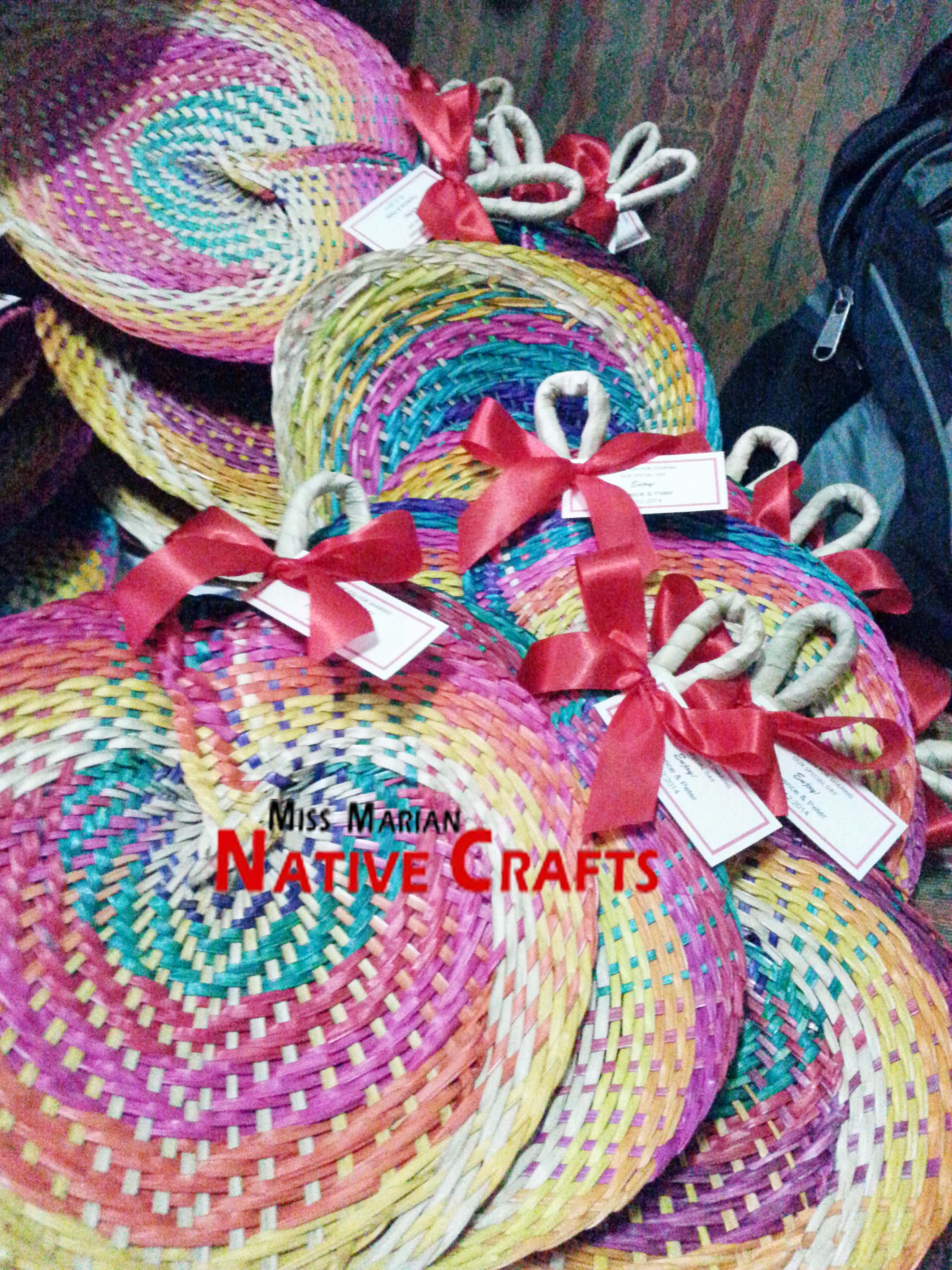 Rainbow Buri Fan Wedding Favors With Red Ribbon And Tags