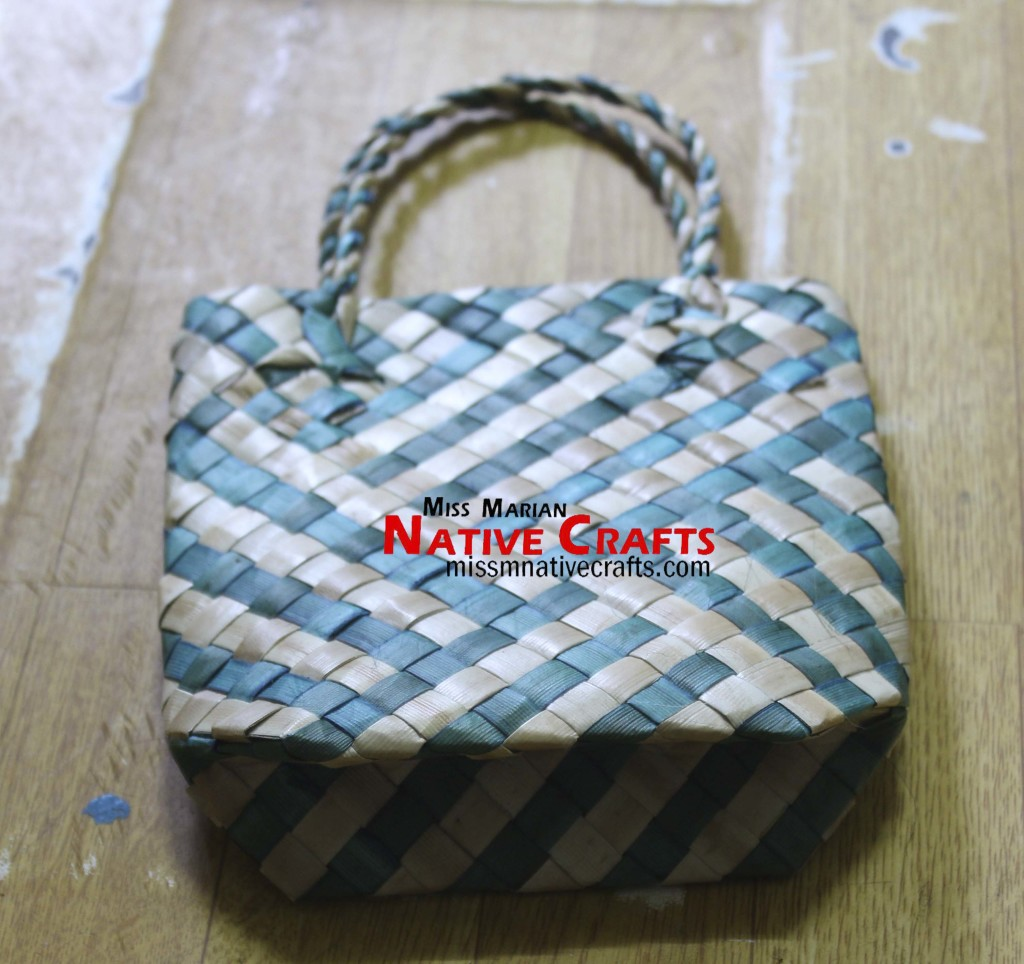 Blue Stripe Lauhala Foldable Bag