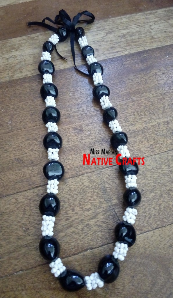 Black Kukui Leis with Mongo Shells