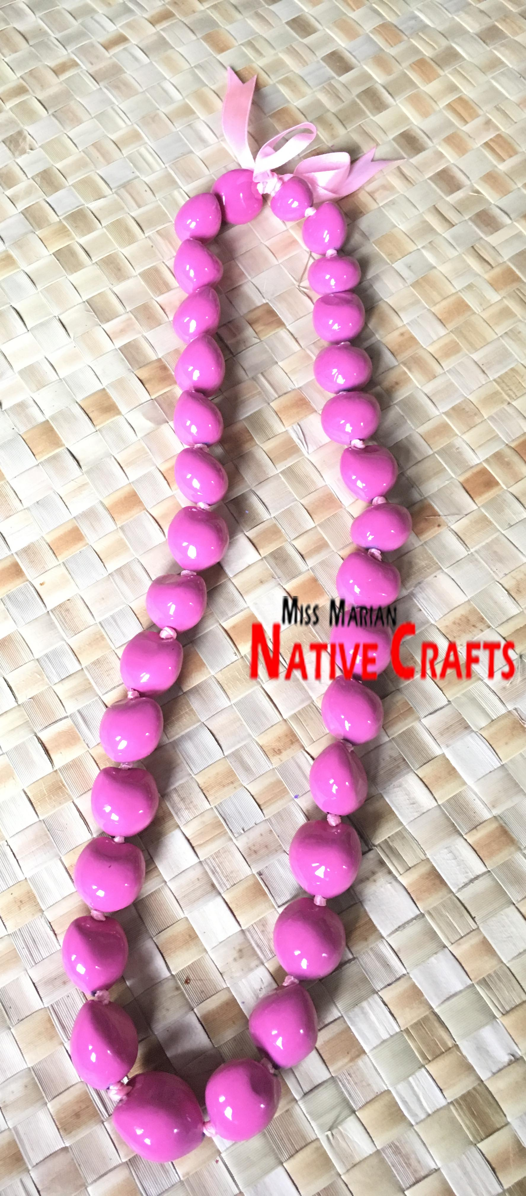 Light Pink Hawaiian Kukui Nuts Leis, Kukui Nuts