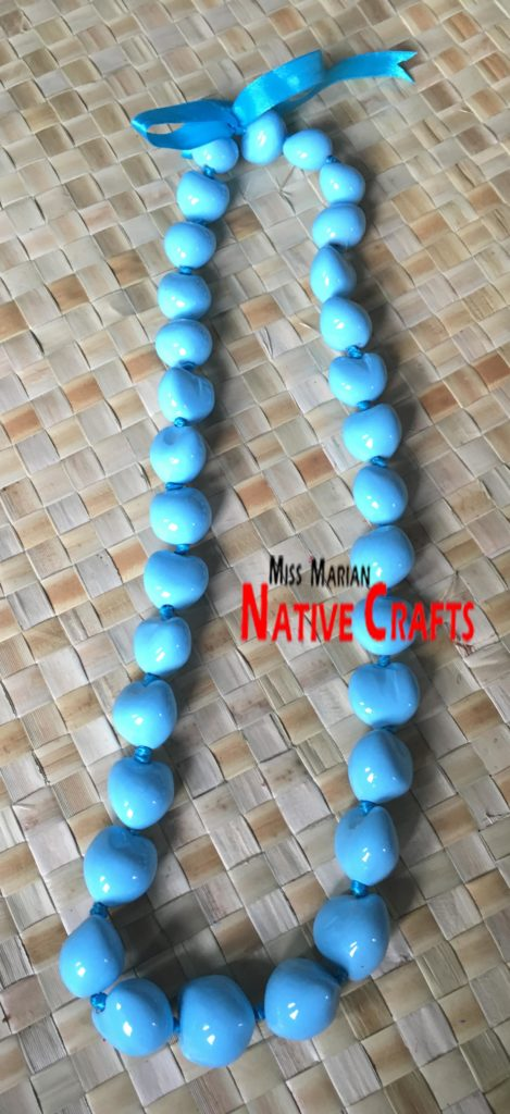 Light Blue Kukui Nuts leis